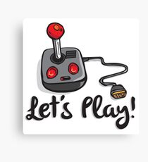 Old School Gaming Joystick - Let's Play Canvas Print