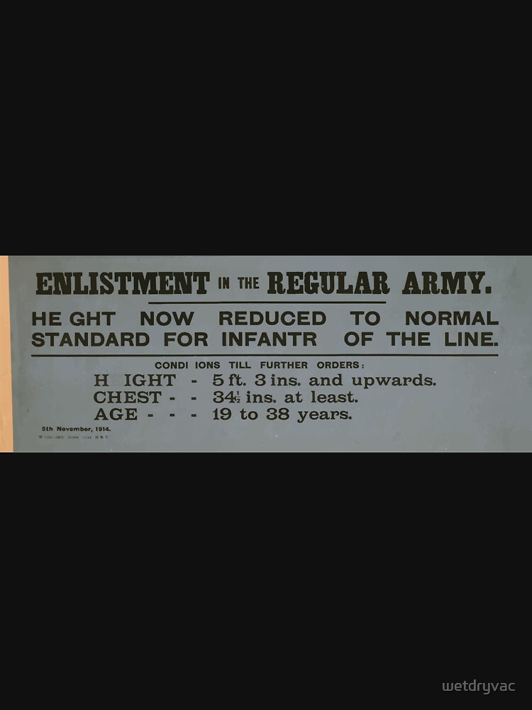 Enlistment in the regular army Height now reduced to normal standard for infantry of the line 077 von wetdryvac