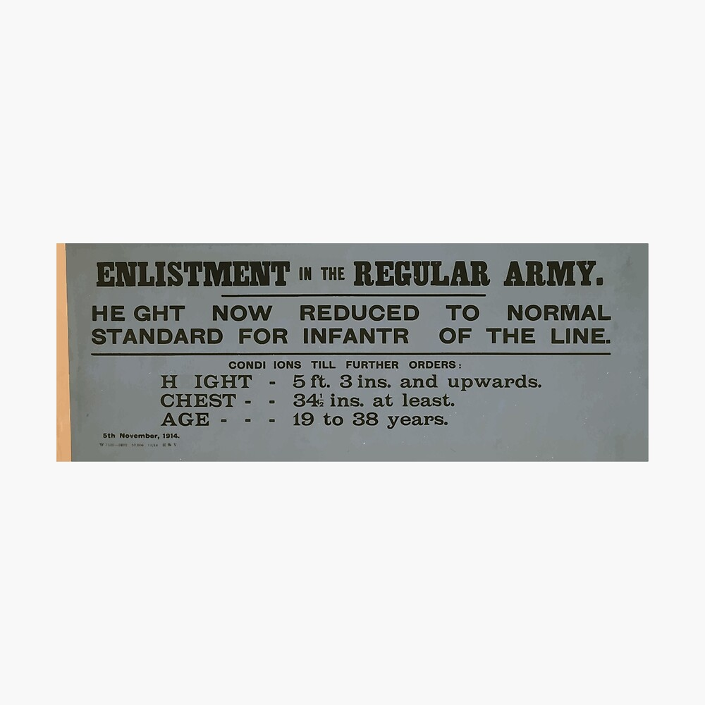 Enlistment in the regular army Height now reduced to normal standard for infantry of the line 077 Fotodruck