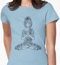 Yoga Om Chakras Mindfulness Meditation Zen 3 Womens Fitted T-Shirt