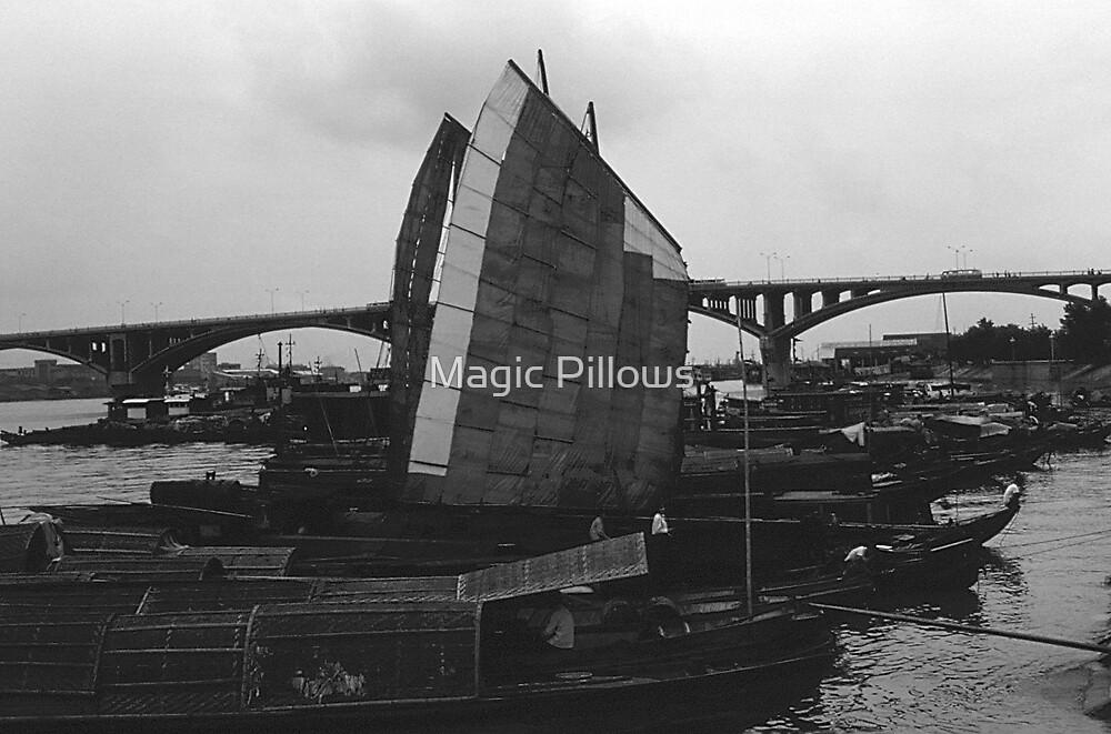 BW China Changsha xiang jiang river boat 1970s by blackwhitephoto