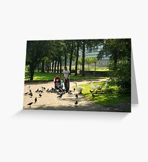 Come, birdies, come!  Greeting Card