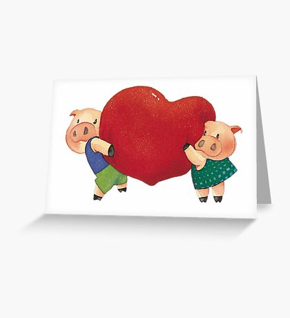 """Valentine's Day """"Pigs In Love"""" T-Shirt Greeting Card"""