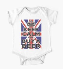 KEEP CALM & BUY A BEER, UNION JACK, BRITISH, FLAG, BLIGHTY, UK, ON BLACK Kids Clothes