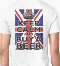 KEEP CALM & BUY A BEER, UNION JACK, BRITISH, FLAG, BLIGHTY, UK, ON BLACK Unisex T-Shirt