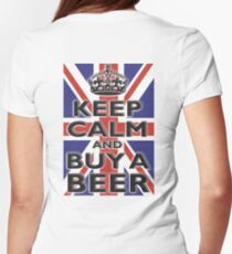 KEEP CALM & BUY A BEER, UNION JACK, BRITISH, FLAG, BLIGHTY, UK, ON BLACK Womens Fitted T-Shirt