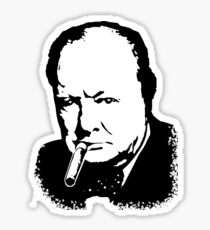 CHURCHILL, Sir Winston Leonard Spencer Churchill, Greatest War Leader, Black on White Sticker