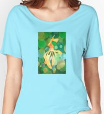 Vermilion Goldfish Swimming In Green Sea of Bubbles Women's Relaxed Fit T-Shirt