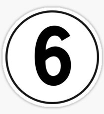 6, Sixth, Number Six, Number 6, Old School, Racing, Six, Competition, on Navy Blue Sticker