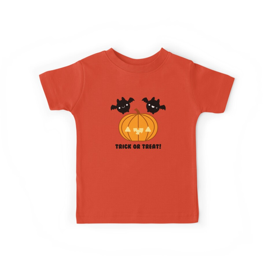 Halloween Adorable Kawaii Pumpkins and Bats by hellohappy