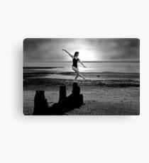 Ballet on the beach B&W Canvas Print