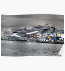 Cruise Ships at the Prince George Wharf in Nassau, The Bahamas Poster