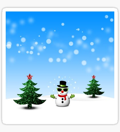 Cool Snowman and Sparkly Christmas Trees Sticker