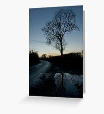 Holme Fen Drove, November, dusk Greeting Card