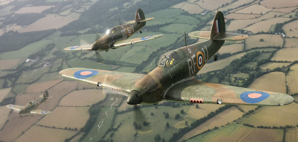 Hawker Hurricanes from 303rd RAF Squadron on patrol. by bryk