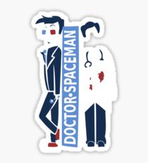Spacemen (Red, White, and Blue) Sticker