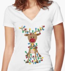 Adorable Reindeer Women's Fitted V-Neck T-Shirt