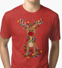 Adorable Reindeer Tri-blend T-Shirt
