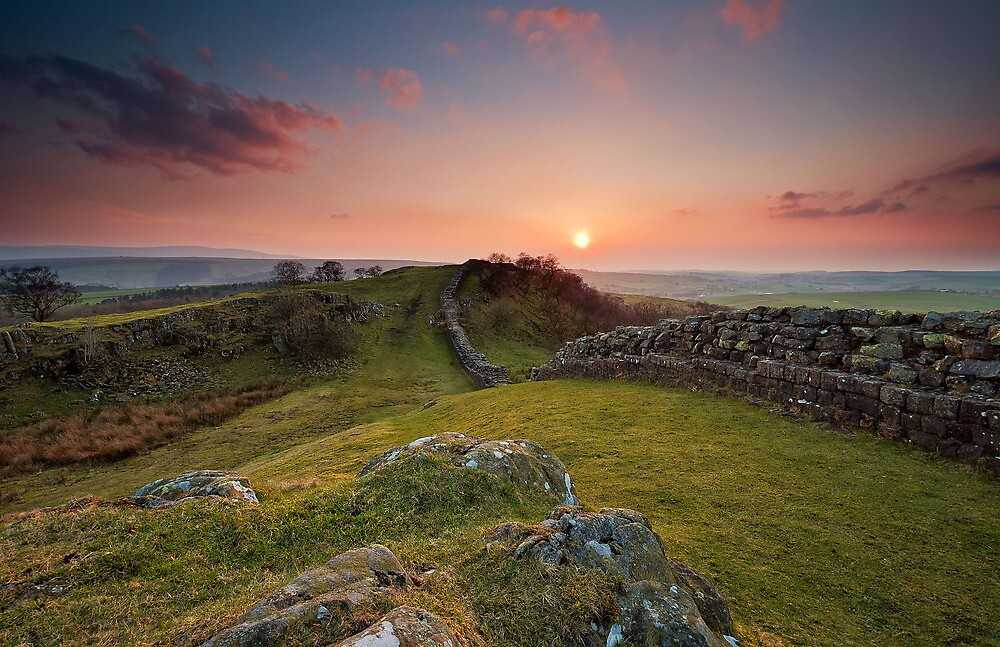 sunset hadrian's wall by paul mcgreevy