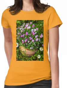 Ceramic Pot of Violas Womens Fitted T-Shirt