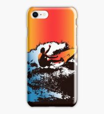 Groovy Hawaiian Surfer 1960s Retro Graphic - Navy & Red iPhone Case/Skin
