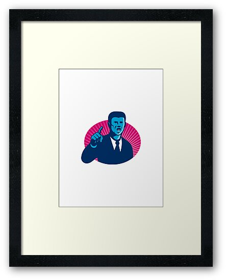 blue businessman politician pointing retro by retrovectors