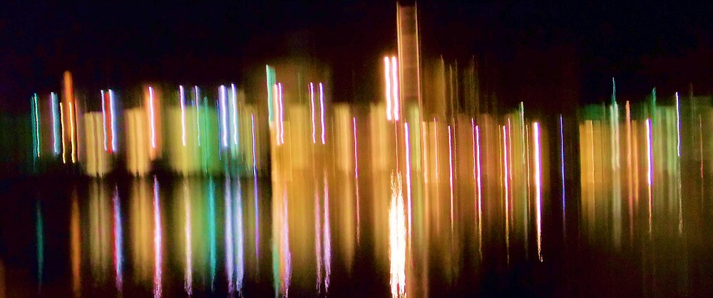 Abstract City Lights Over Water by Carolyn Repka