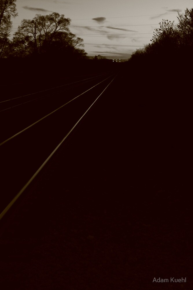 Tracks Leaving Lisle,,,,in a different hue,,, by Adam Kuehl