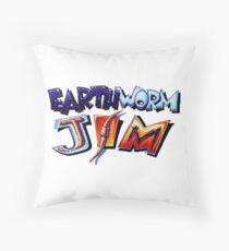 Earthworm Jim (SNES) Title Screen Throw Pillow