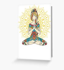 Yoga Om Chakras Mindfulness Meditation Zen 4 Greeting Card