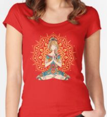 Yoga Om Chakras Mindfulness Meditation Zen 4 Women's Fitted Scoop T-Shirt