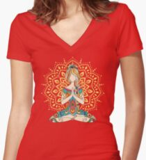 Camiseta entallada de cuello en V Yoga Om Chakras Mindfulness Meditation Zen 4