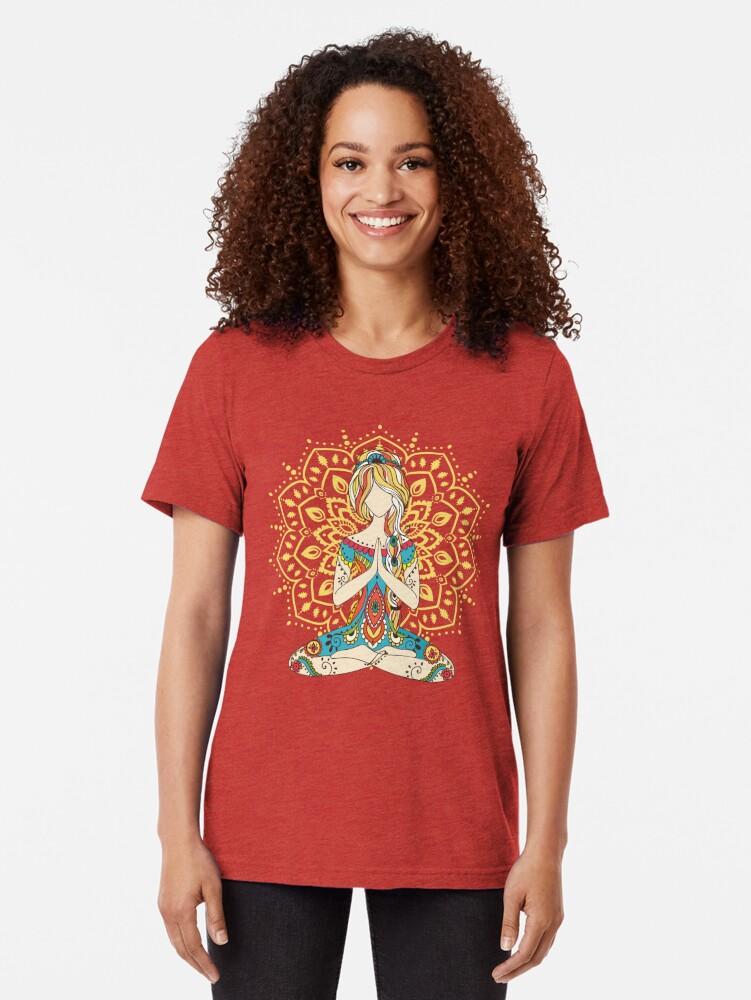 Alternate view of Yoga Om Chakras Mindfulness Meditation Zen 4 Tri-blend T-Shirt
