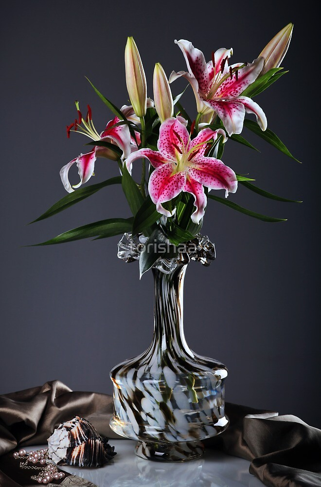 Pink Lily Flowers by torishaa