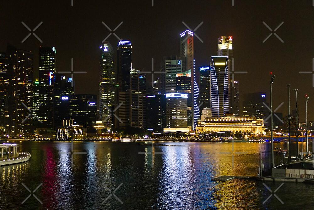 Singapore skyline as seen from the pedestrian bridge near the Marina by ashishagarwal74