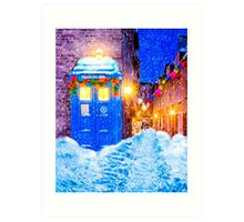 Old Blue Police Box In A Christmas Snow Art Print