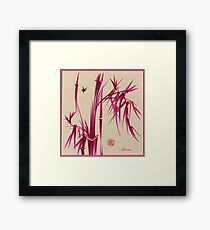 """Pink Gives Us Hope"" - Original sumi-e bamboo asian brush pen painting Framed Print"