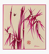"""Pink Gives Us Hope"" - Original sumi-e bamboo asian brush pen painting Photographic Print"