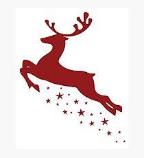 Flying Reindeer Photographic Print