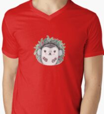 Holiday Hedgie - Watercolor - Willow Heath V-Neck T-Shirt