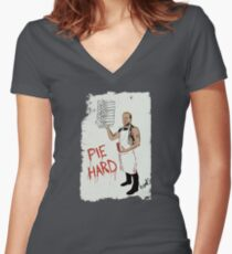 Pie Hard by Hanksy Women's Fitted V-Neck T-Shirt
