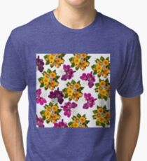 Vintage chic pink purple orchids yellow flowers  Tri-blend T-Shirt