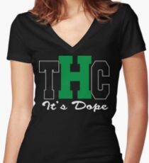 THC Cannabis Women's Fitted V-Neck T-Shirt