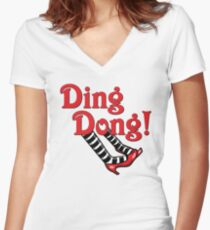 Ding Dong! The Wicked Witch Is Dead.  Wizard of Oz Women's Fitted V-Neck T-Shirt