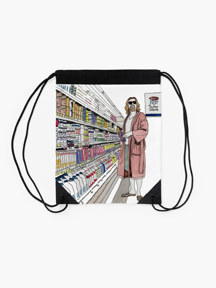 Alternate view of Jeffrey Lebowski and Milk. AKA, the Dude. Drawstring Bag