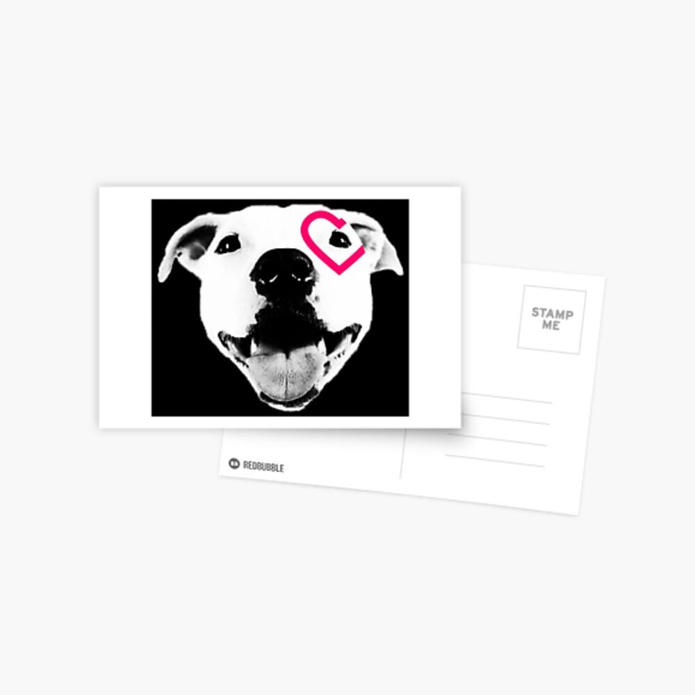 Heart over eye Pittie Postcard
