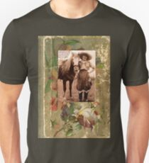 Vintage Cowgirl Horse Antique Book Rose Slim Fit T-Shirt