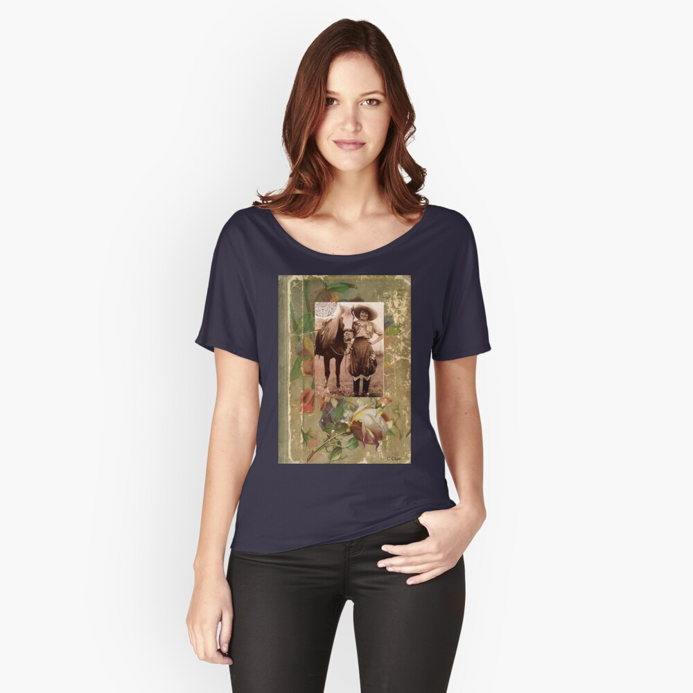 Vintage Cowgirl Horse Antique Book Rose Relaxed Fit T-Shirt