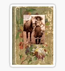 Vintage Cowgirl Horse Antique Book Rose Sticker