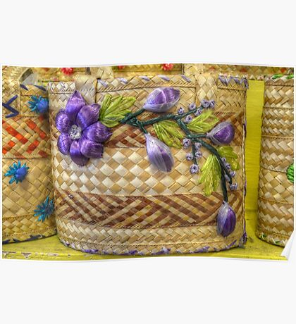 Old Fashion Handmade Straw Bag in The Bahamas Poster
